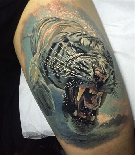 butcher tattoo designs tiger swimming underwater looking scary best