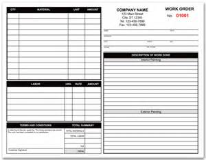 painting contractors work order form