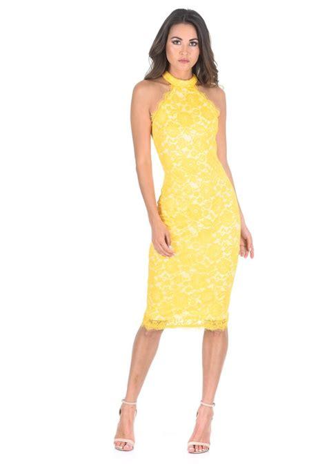 Lace Sleeveless Midi Dress ax womens midi bodycon lace dress yellow high neck