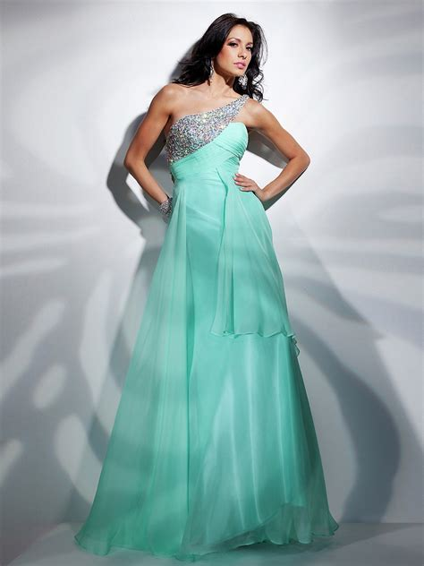sumptuous one shoulder empire style sage chiffon beaded