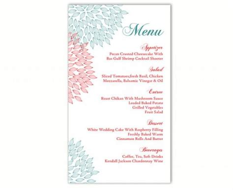 free wedding menu template for word wedding menu template diy menu card template editable text word file instant blue