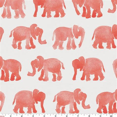 Home Design Comforter coral watercolor elephants fabric by the yard coral