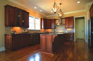 Cherry Finish Kitchen Cabinets Gorgeous Kitchen Island Granite Countertop Overhang With Cherry Wood Finish Kitchen Cabinets