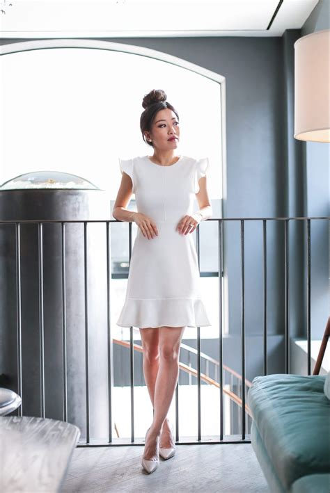 desk  dinner white ruffle dress drape jacket