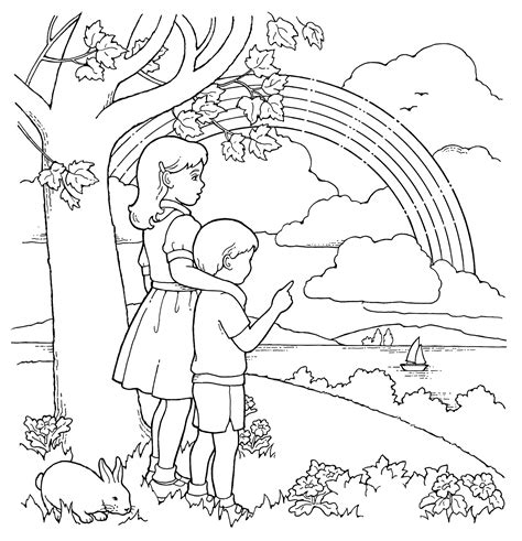 primary coloring page children and rainbow ldsprimary