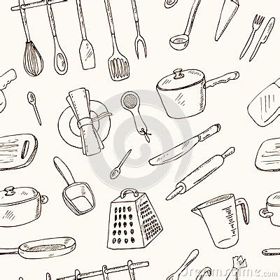 doodle tool doodle kitchen tool seamless pattern vector illustration