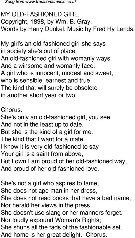 Old Time Song Lyrics for 59 My Old Fashioned Girl