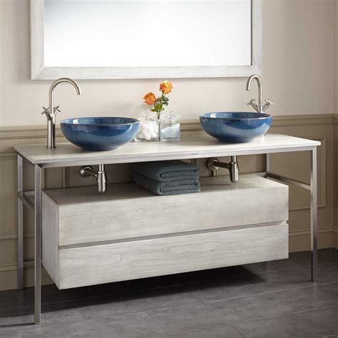 60 Quot Roeding Teak Vessel Sink Vanity Light Gray Double Bathroom Vanities For Vessel Sinks