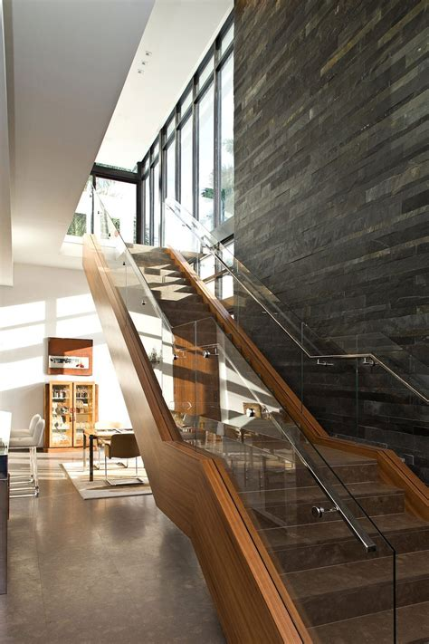 Wood Glass Stairs Design Wood Glass Stairs Slate Wall Modern Home In Golden Florida
