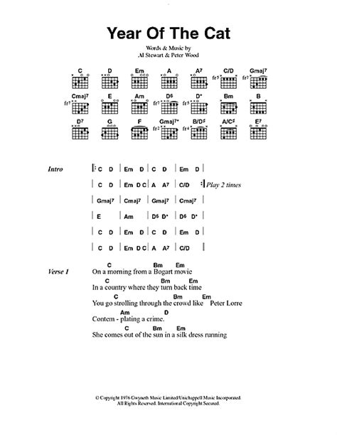 piano tutorial year of the cat year of the cat sheet music by al stewart lyrics chords