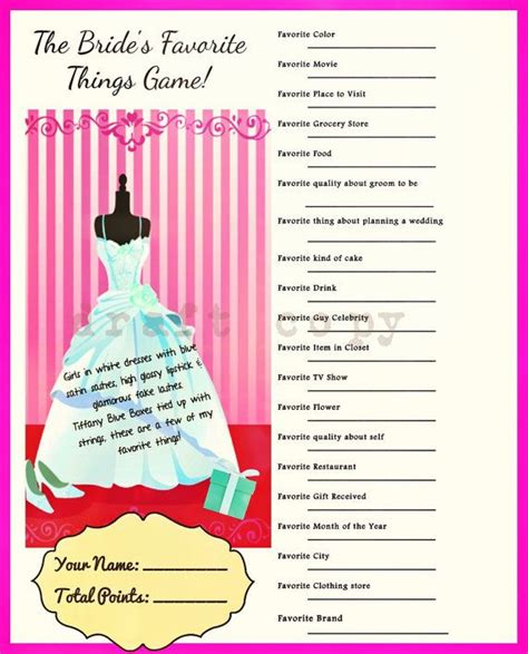 Bridal Shower Paket 4 brides favorite things wedding shower bridal