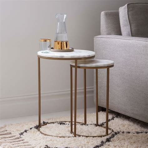 nesting side tables set marble antique brass