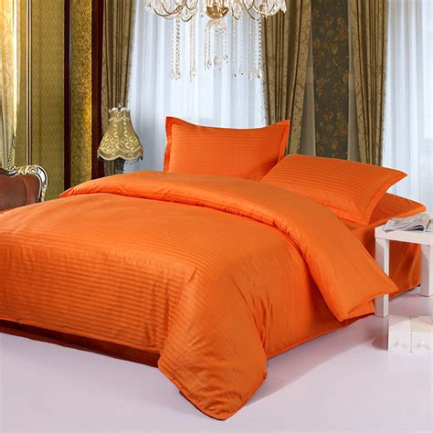 hot sale 4pcs orange bedding comforter set tribute silk