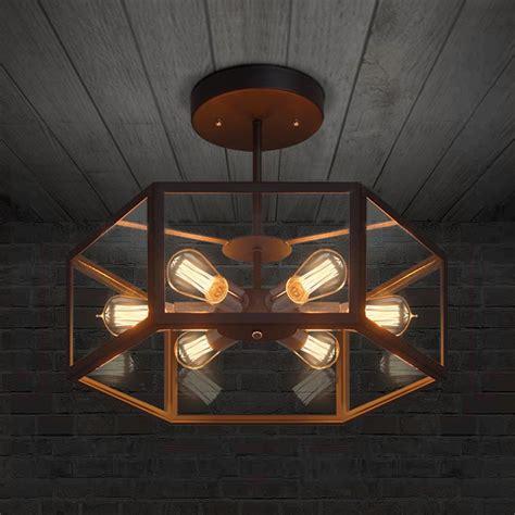 American Industrial Retro Style Creative Cafe Restaurant Hexagon Ceiling Light
