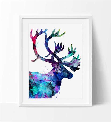 Reindeer Printable Wall Art | reindeer painting reindeer art print watercolor print