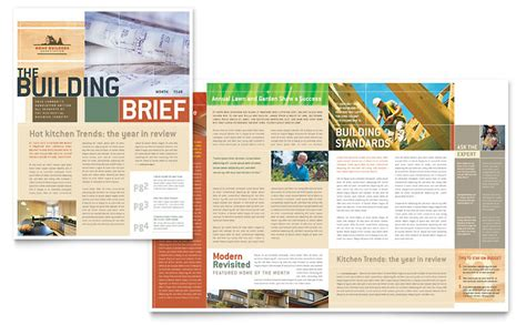 Home Builders & Construction Newsletter Template   Word