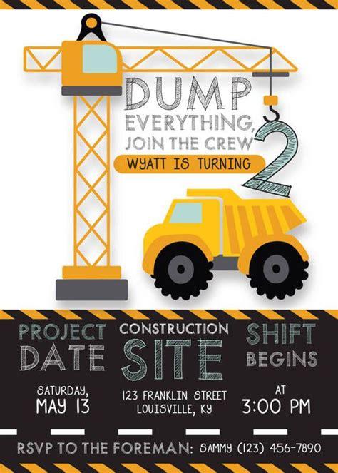 Printable Construction Birthday Invitation Dump Truck Construction Theme Caution Bday Under Construction Themed Birthday Invitation Templates