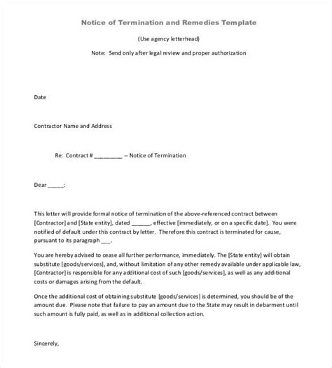 contract termination letter template 17 free sle
