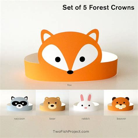 printable paper animal hats diy printable forest animal paper crowns fox rabbit