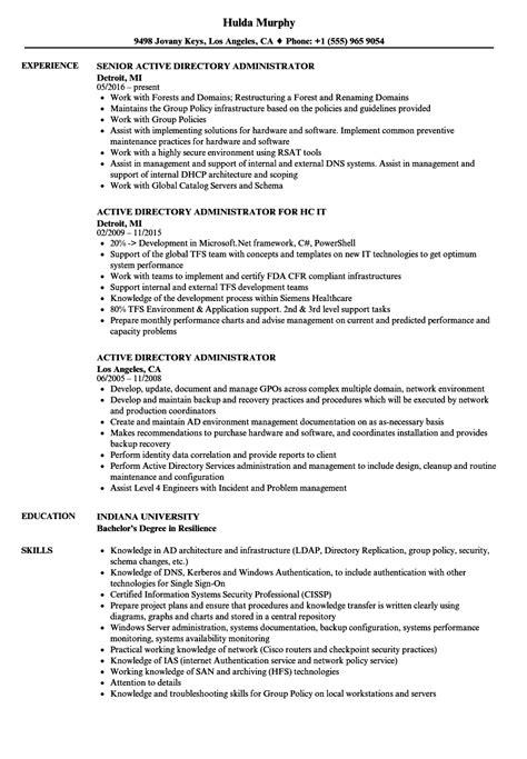 active directory administrator resume sles velvet