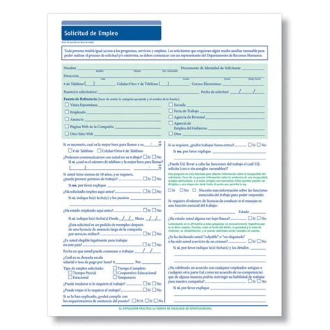 blank spanish employment application employment application