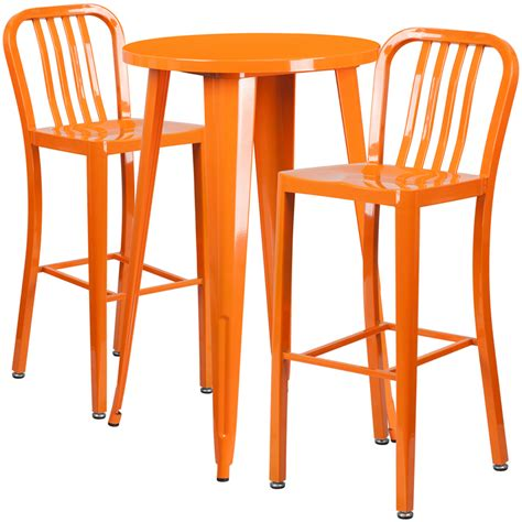 Outdoor Bar Table And Stools 24 Orange Metal Indoor Outdoor Bar Table Set With 2 Vertical Slat Back Stools Ch