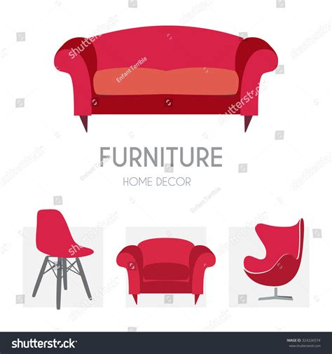 home design furniture account sofa business sign set vector template stock vector
