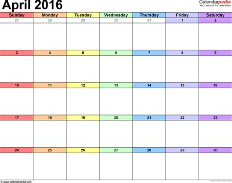 Calendar April 2016 April 2016 Calendars For Word Excel Pdf
