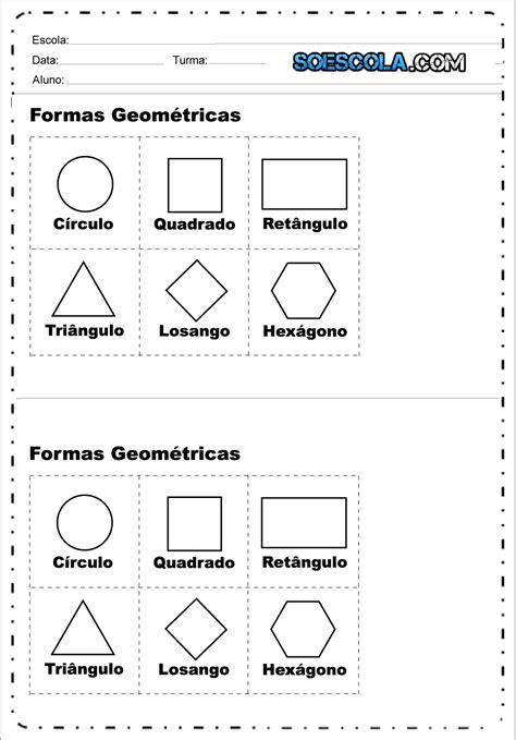 Recorte e Pinte - Atividades Formas Geométricas. — SÓ ESCOLA