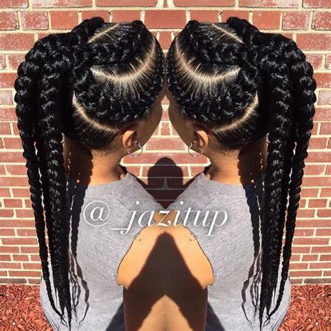 human hair ponytail with goddess braid instagram post by jazmin davidson jazitup cornrows