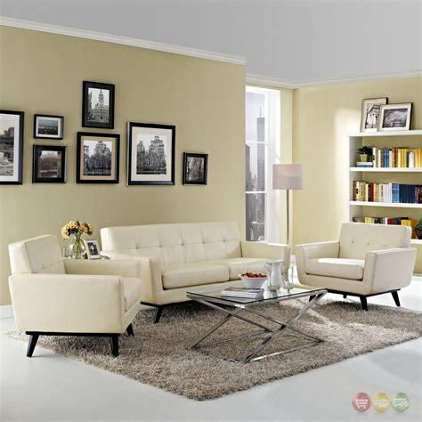 beige leather living room set engage contemporary 3pc button tufted leather living room