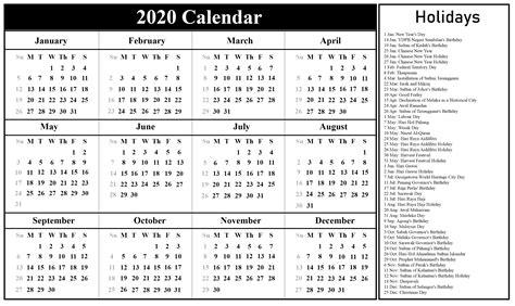 malaysia calendar   holidays  excel word printable template calendar