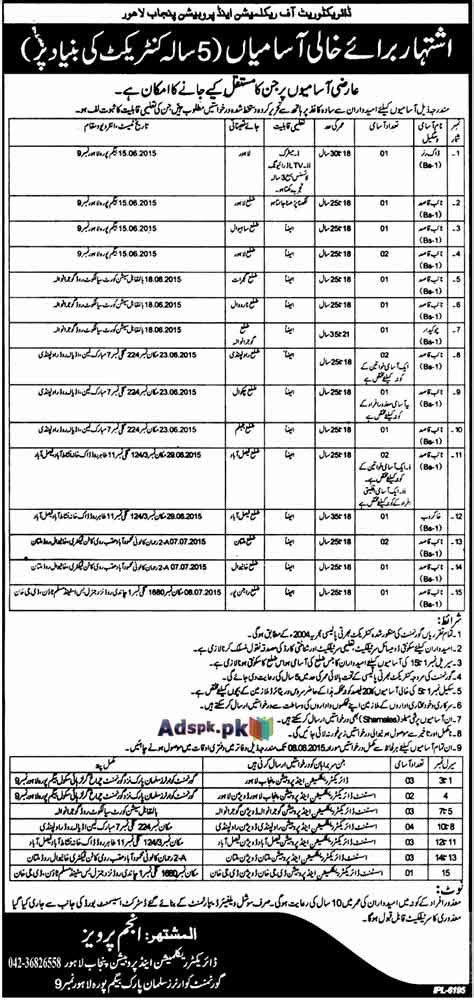 Mba Punjab Lahore 2015 by Opportunities In Director Reclamation And Probation