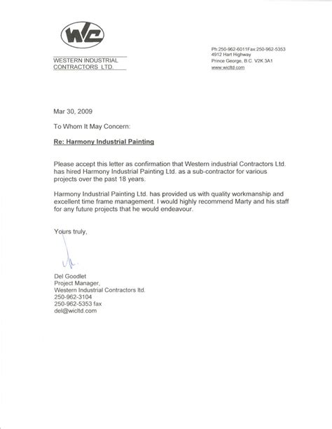 Demand Letter General Contractor Contractor Recommendation Letter Letter Of Recommendation