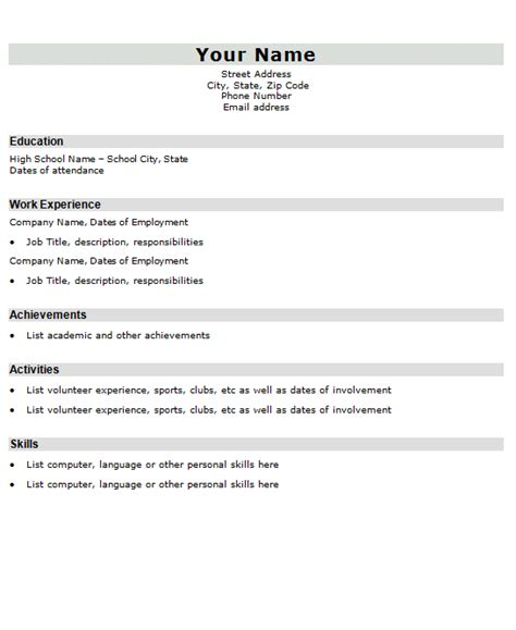 template of resume resume templates sles exles