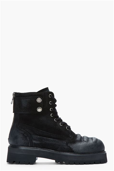 neil barrett shoes neil barrett black suede heavy cardiff boots in black for