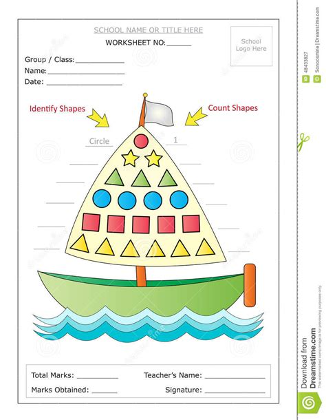 theme names are identified by their worksheet identify count basic shapes stock vector