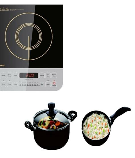 induction cooktop non magnetic philips hd4938 with non stick cookware set induction cooktop buy snapdeal india