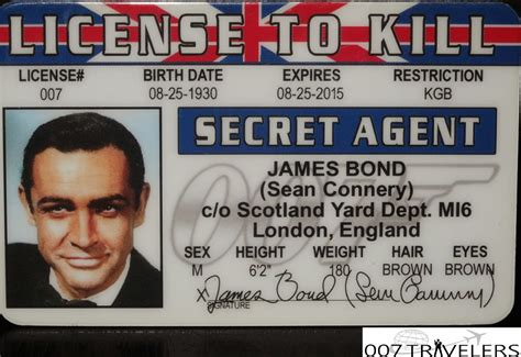 007 Id Card Template by 007 Travelers 007 Item License To Kill Id Card