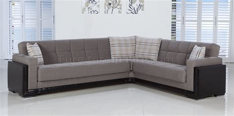fume fabric leatherette base sectional convertible sofa bed