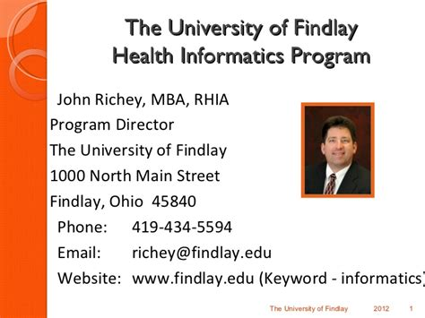 Of Findlay Mba Healthcare Management by Health Informatics