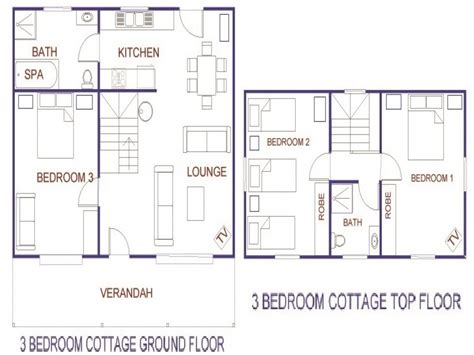 3 Bedroom Cottage Floor Plans | 3 bedroom cottage house plans rustic house plans two