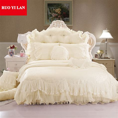 Discount Duvet Cover Sets Light White Jacquard Silk Princess Bedding Set 4pcs Silk