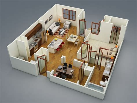 2 floor bed 1 bedroom apartment house plans