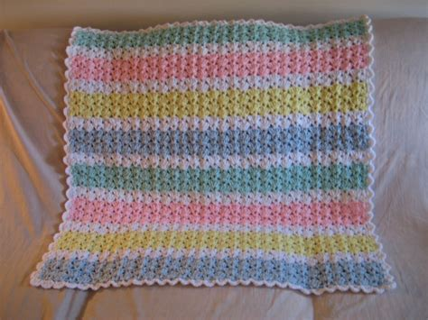 Simple Crochet Baby Blanket Patterns by Pastel Baby Afghan Pattern Favecrafts