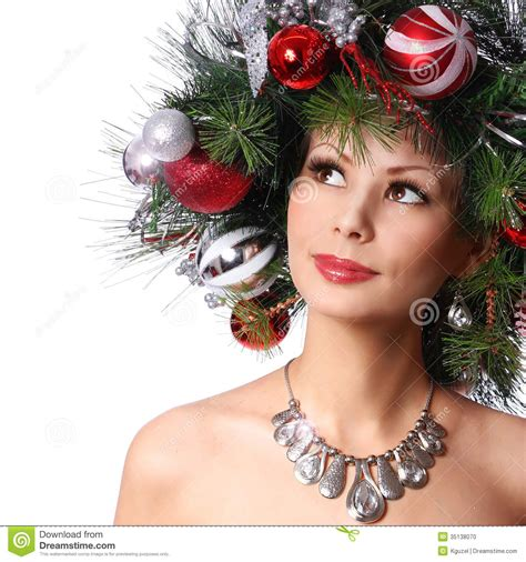 latest holiday wood hairstyles christmas woman fashion girl with new year decorated
