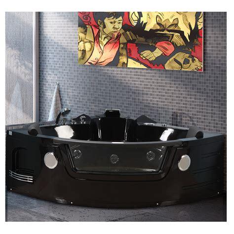 vasca angolare 140x140 vasca idromassaggio 140x140 color nero vetro frontale