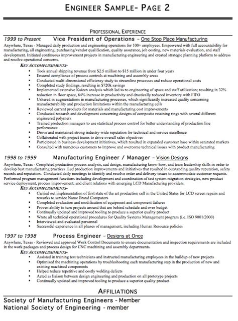 engineer resume sle free resume template professional