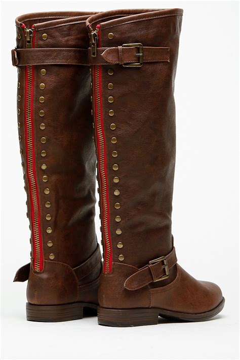 Bamboo Brown Leather Boots bamboo knee high rider brown boots cicihot boots catalog
