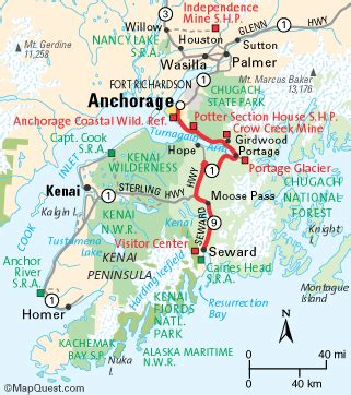 us map seward alaska wildernet the seward highway alaska scenic byways